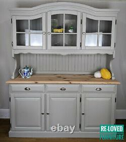 Shabby Chic Solid Pine Welsh Dresser Kitchen Sideboard Painted- Hardwick White