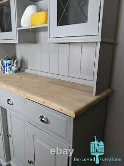 Shabby Chic Solid Pine Welsh Dresser Kitchen Sideboard Painted -Hardwick White