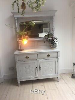 Shabby Chic Solid Pine Welsh Dresser Kitchen Sideboard Painted In Pale Grey