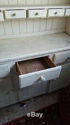 Shabby Chic Solid Pine Welsh Dresser Kitchen Sideboard needs repainting