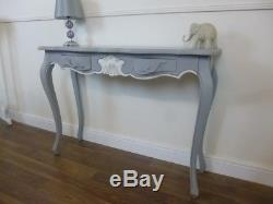 Shabby Chic Style Console Table In Mercury Grey Handmade French Style Table