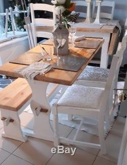 Shabby Chic Table Chairs and Bench Dining Kitchen Farmhouse French