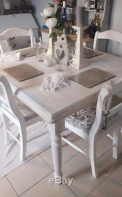 Shabby Chic Table and Chairs Dining Kitchen Farmhouse French White Washed