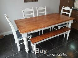 Shabby Chic Table and chair/bench set 6ft x 3ft Nationwide Delivery