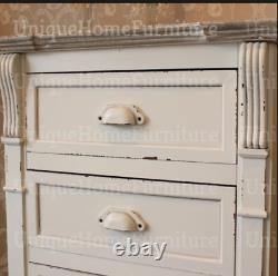 Shabby Chic Tallboy White Vintage Furniture Tall Chest 5 Drawers Bedroom Cabinet