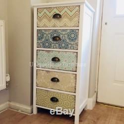 Shabby Chic Tallboy White Vintage Furniture Tall Chest Drawers Side Cabinet Unit