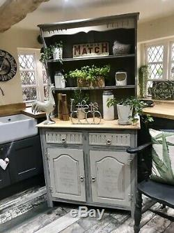 Shabby Chic Vintage Dresser In Annie Sloan French Linen And Country Grey