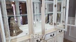 Shabby Chic Vintage Painted Large Dresser Glass Display Cabinet Mirror Back