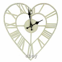 Shabby Chic Vintage Style Metal Cut Out Cream Heart Shape Wall Clock 35cm