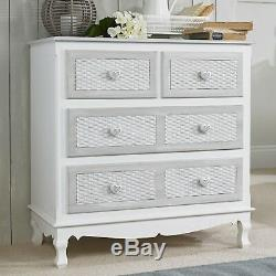 Shabby Chic White Grey Chest Of Drawers With Heart Knobs