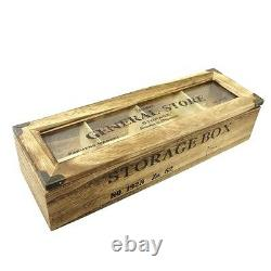 Shabby Chic Wood General Store 4 Compartment Tea Bag Box Candy Storage Chest