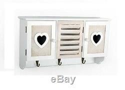 Shabby Chic Wooden Heart Wall Unit Storage Organiser Display Shelf With 3 Hooks