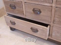 Shabby chic 18 drawer wooden chest of drawers
