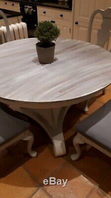 Shabby chic circular dining kitchen hall table with triform base