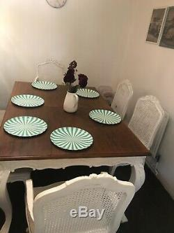 Shabby chic extendable Dinning Table And 6 chairs- Annie Sloan Waxed