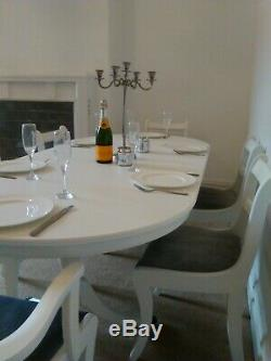 Shabby chic extendable dining table and chairs French Farmhouse kitchen