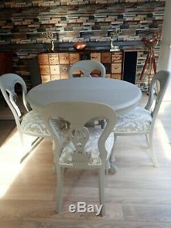 Shabby chic extending dining table and 4 balloon back chairs