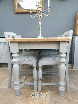 Shabby chic farmhouse kitchen / dining table and 4 chairs