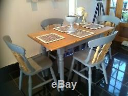 Shabby chic farmhouse table and four fiddleback chairs