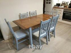 Shabby chic grey painted extending wooden dining table and 6 chairs