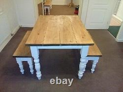Shabby chic handmade solid pine farmhouse table and bench sets