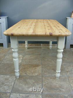 Shabby chic painted Victorian style solid pine farmhouse kitchen / dining table