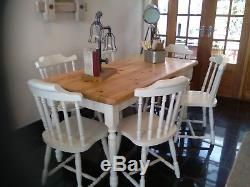 Shabby chic solid pine farmhouse table and six farmhouse chairs