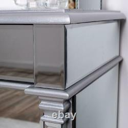 Silver Mirrored Bedside Table Chest Venetian Glass Cabinet Bedroom Furniture