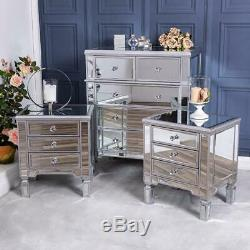 Silver Mirrored Chest of Drawers Pair of Bedside Hallway Cabinet Bedroom Set
