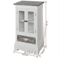 Small Display Cabinet White Vintage Furniture Shabby Chic Cupboard Glass Doors