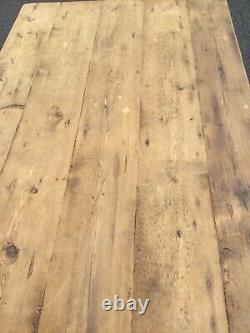 Small Rustic Pine Wooden Kitchen Table Shabby Chic Waxed Top &Grey With Drawer