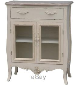 Small Vintage Sideboard Shabby Chic Cabinet French Wooden Furniture Glass Doors