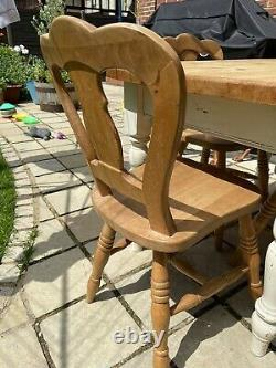 Solid Country Pine Farmhouse Rustic Shabby Chic Kitchen Dining Table And Chairs