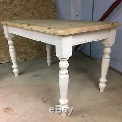 Solid Pine Antique Style Kitchen Table & 4 Chairs. Shabby Chic F&B Painted Legs
