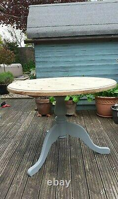 Solid Pine Round Table Upcycled dining room or kitchen sits 4 people shabby chic
