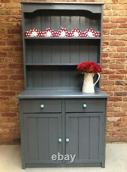 Solid Pine Wood Shabby Chic Grey Country Kitchen Welsh Dresser Display Cabinet