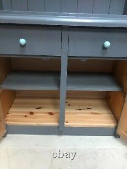 Solid Pine Wood Shabby Chic Look Grey Country Kitchen Display Welsh Dresser