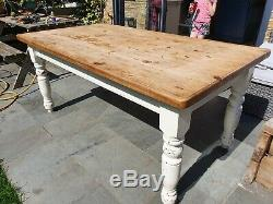 Solid pine shabby chic 5' 6 Victorian farmhouse style kitchen / dining table