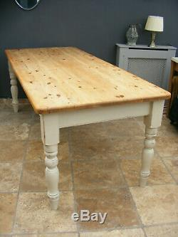 Solid pine shabby chic 6ft 6 Victorian farmhouse style kitchen / dining table
