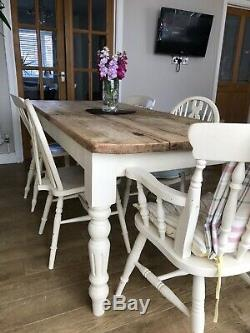 Solid pine table and 6 chairs Refurbished in a shabby chic/country style
