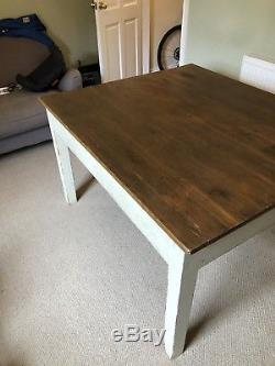Solid wooden farmhouse kitchen dining table and chairs shabby chic
