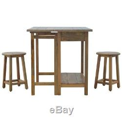 Space Saving Table With Stools Solid Wood Handmade Foldable Breakfast Bar Table