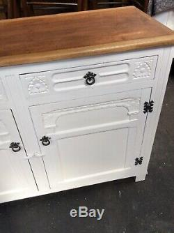 Stunning Sideboard Cupboard Cabinet Solid Oak Top Shabby Chic Painted White