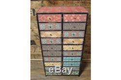 Tall Boy 20 Drawers Distressed Decorated Cabinet Colourful Shabby Chic Storage