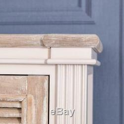 Tall Cabinet Ivory Beige Unit Storage Slim Vintage Chic Country Shelving Home
