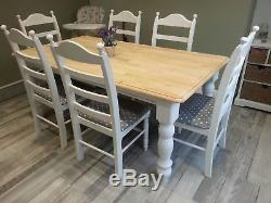 Truly Stunning Shabby Chic 6FT Bespoke Farmhouse Table and chairs
