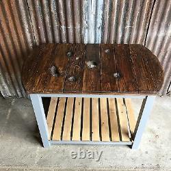 Upcycled Vintage Old Wooden Cable Drum Shabby Chic Kitchen Island Workstation