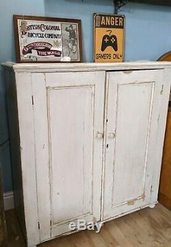 Vintage Antique Rustic painted pine Cupboard Shelves Kitchen Shabby Old Wooden