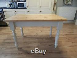 Vintage Farmhouse Pine Kitchen Dining Table & 4 Chairs, Shabby Chic