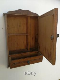 Vintage French Oak Medicine Apothecary Bathroom Kitchen Wall Cabinet Shabby Chic